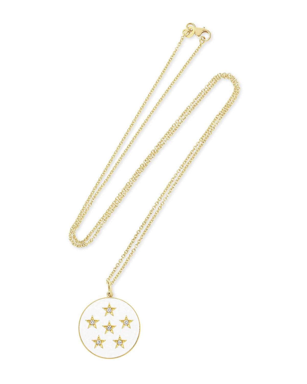 Large Enamel Full Moon Diamond Necklace