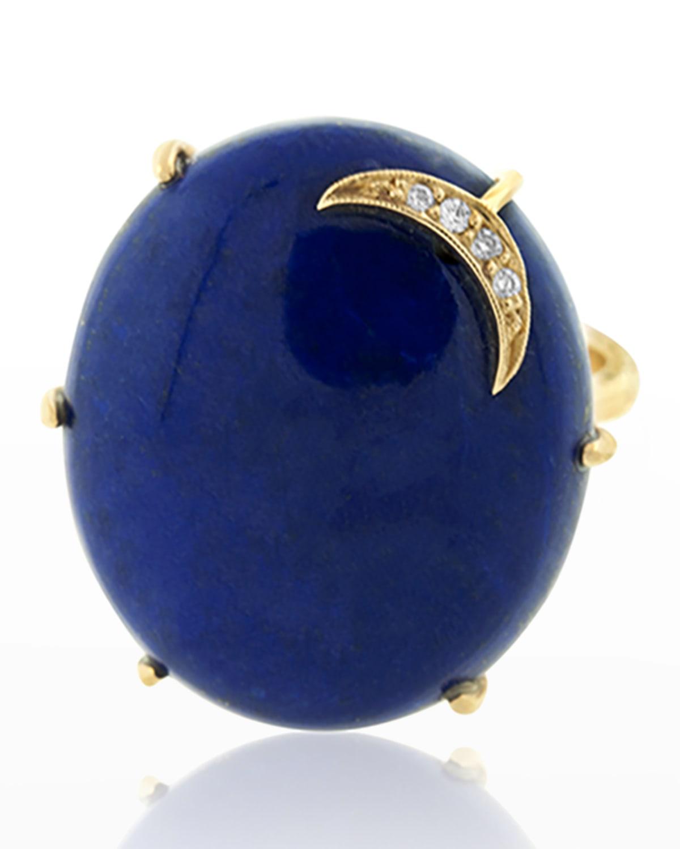 Lapis Aurora Ring with Diamond Crescent Moon