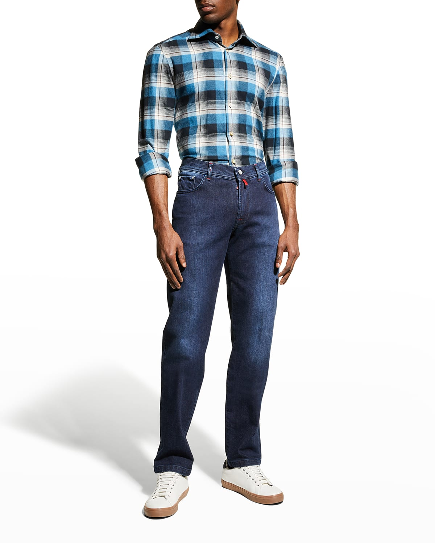 Men's Overstitched Dark-Wash Jeans