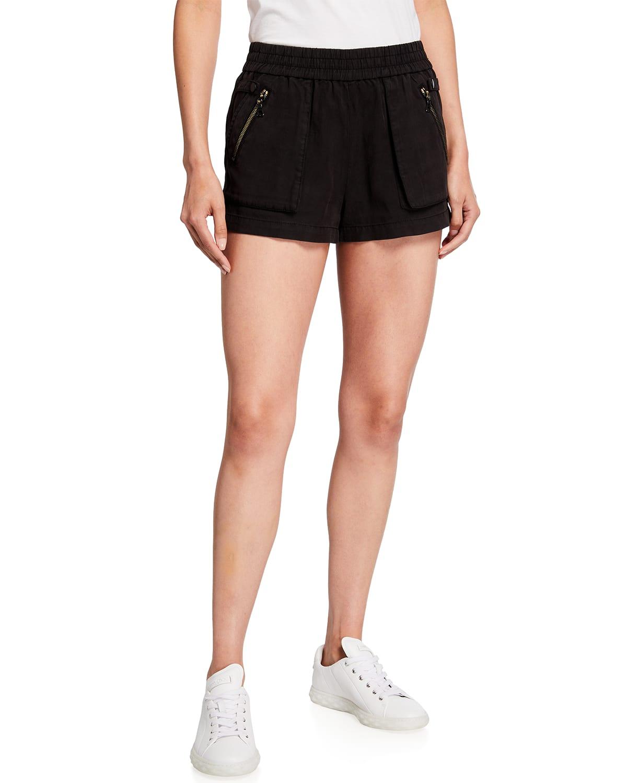 Britney High-Waist Patch-Pocket Shorts