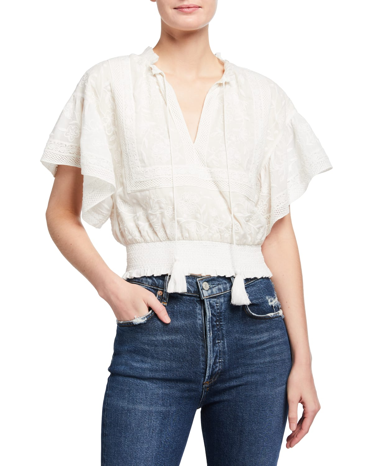 Tabitha Embroidered Ruffle-Sleeve Cropped Blouse