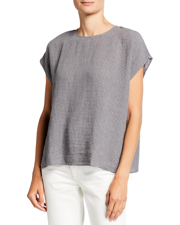 Missy Puckered Check-Print Organic Linen Boxy Top