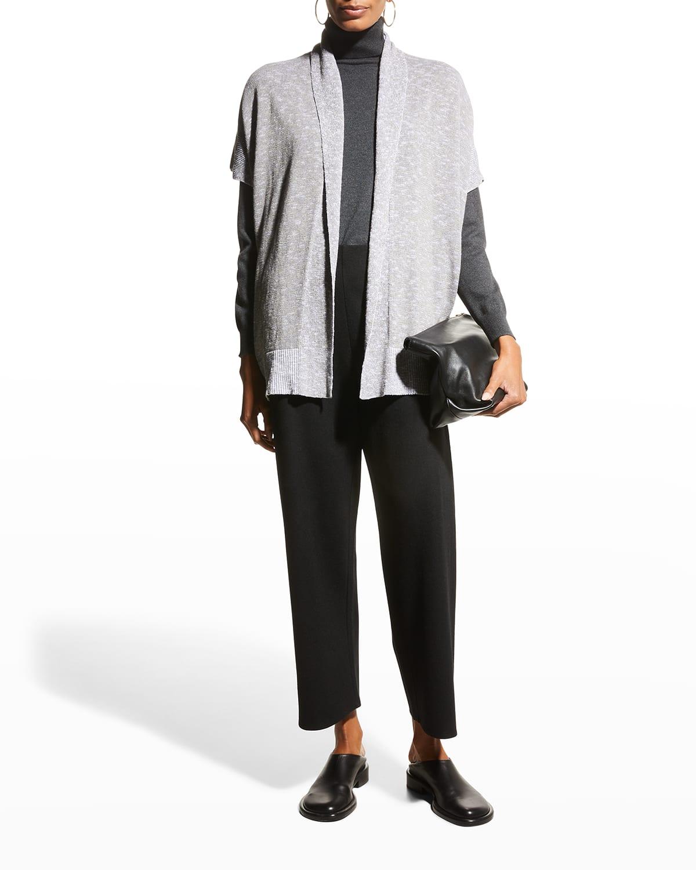 Linen-Cotton Slub Kimono Cardigan