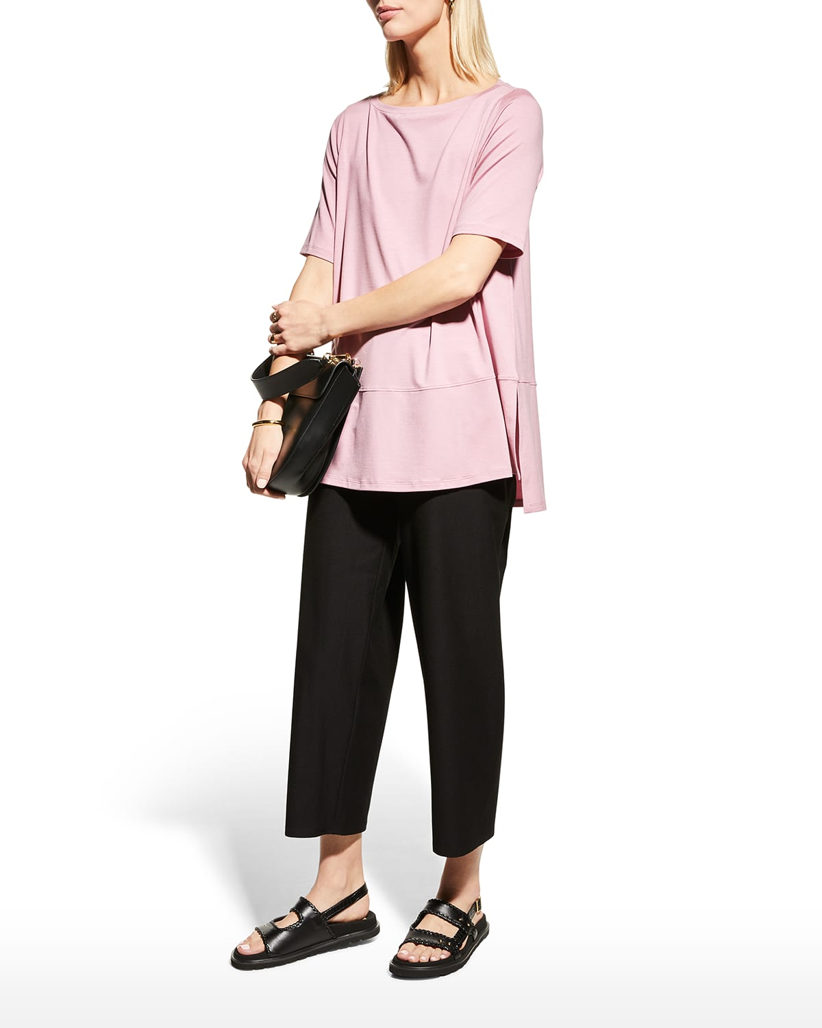 Boat-Neck Elbow-Sleeve Fine Jersey Top