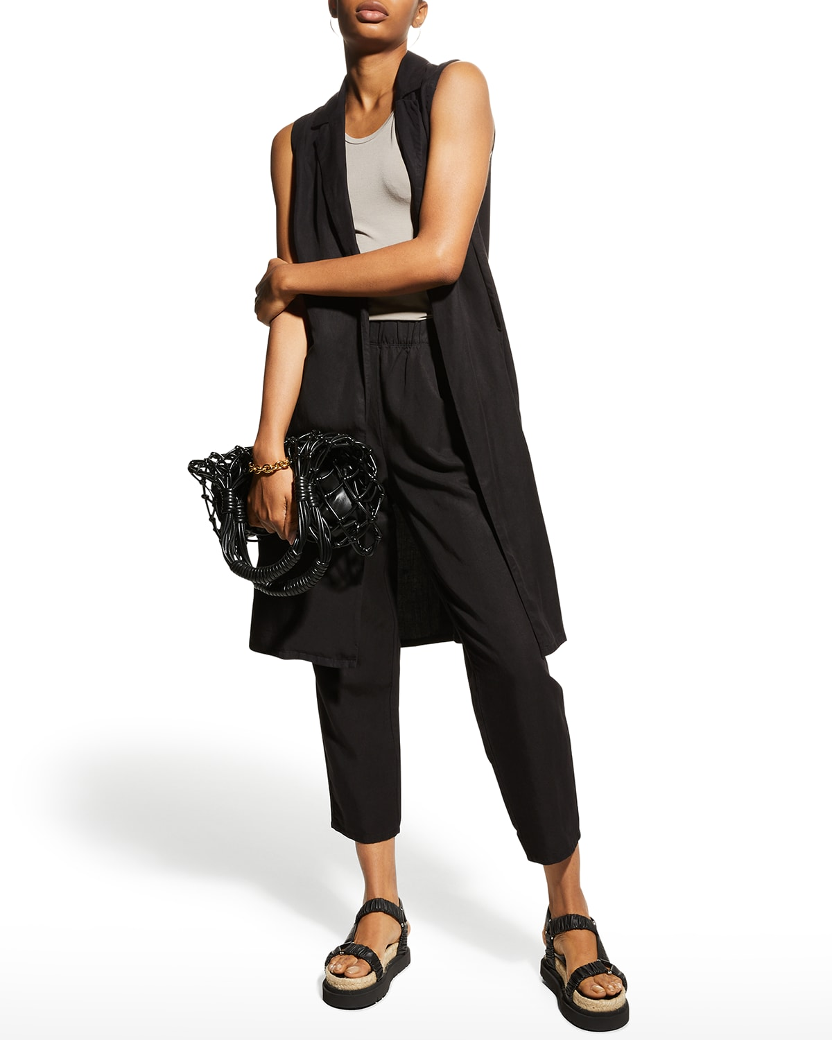 Garment-Dyed Pleated Ankle Pants
