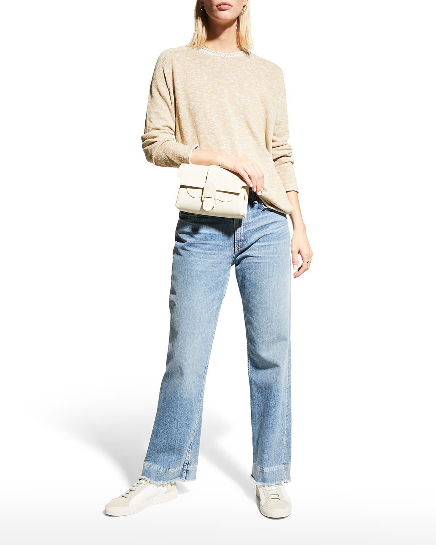 Crewneck Flat Saddle Pullover Sweater