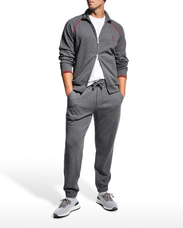Men's Full-Zip Spa Sweater w/ Contrast Trim
