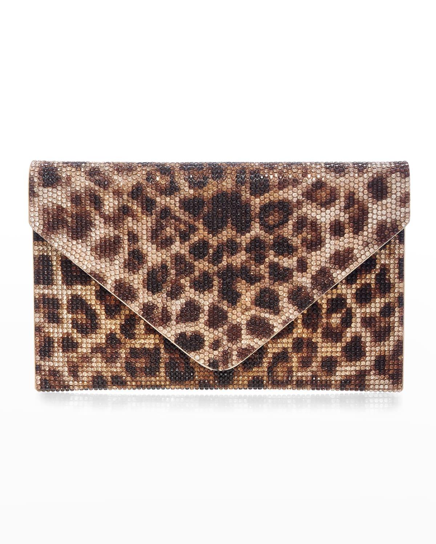 Leopard-Print Crystal Envelope Clutch Bag