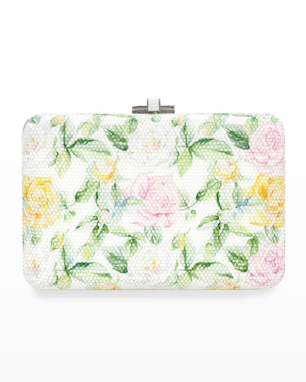 Slim Slide Watercolor Roses Clutch Bag