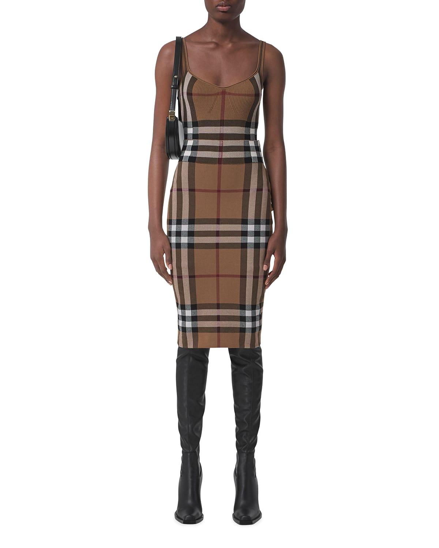 Kammie Check Pencil Midi Skirt