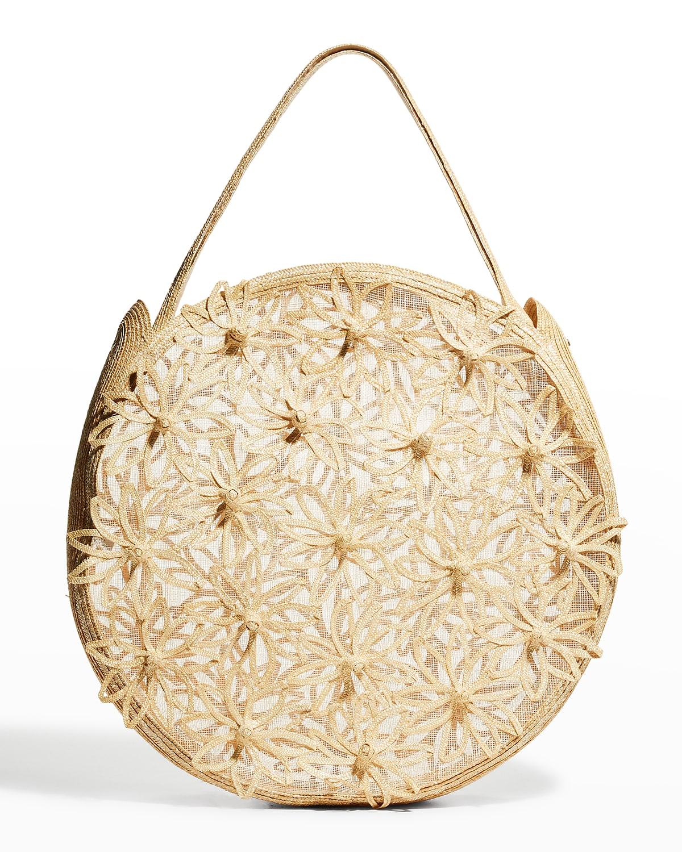 Lani Floral Straw Tote Bag