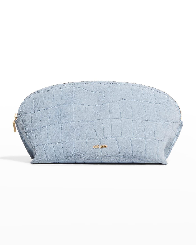 Alba Moc-Croc Suede Cosmetic Bag
