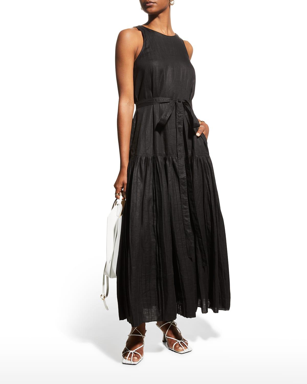 Linen Belted Long Dress