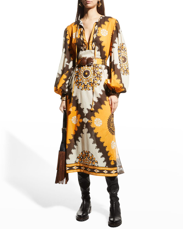 Balloon-Sleeve Belted Midi Dress