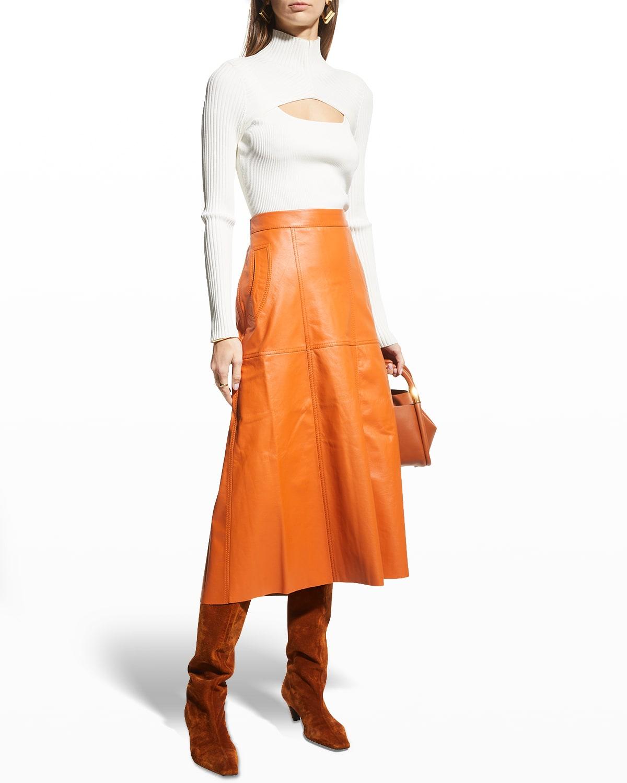 Paneled Leather Midi Skirt