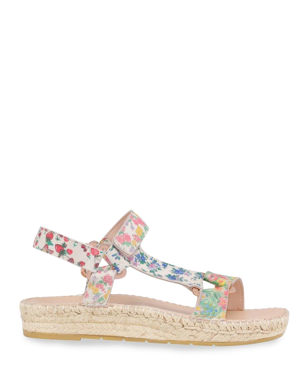 Floral-Print Suede Espadrille Sandals