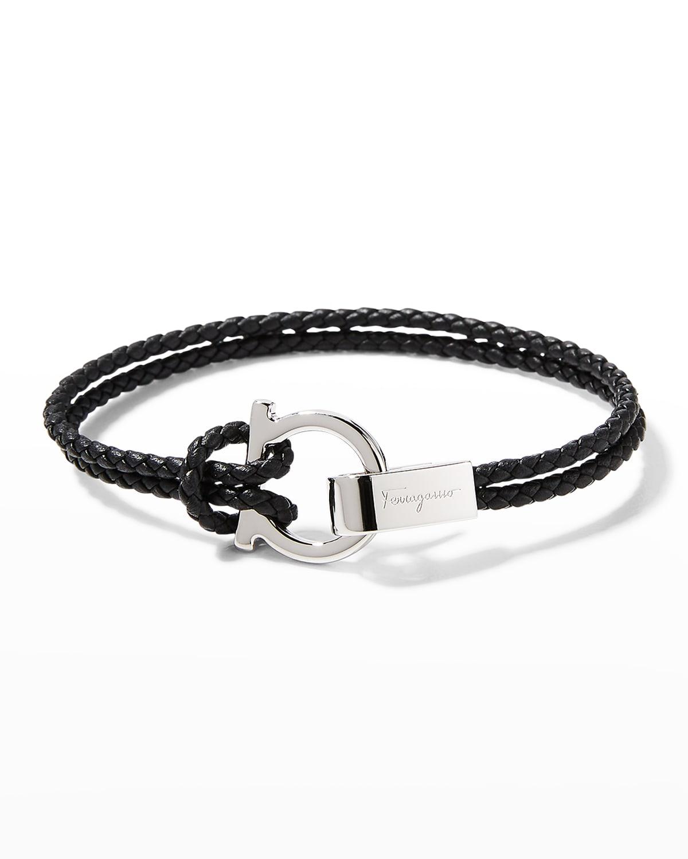 Men's Braided Leather Bracelet in Black