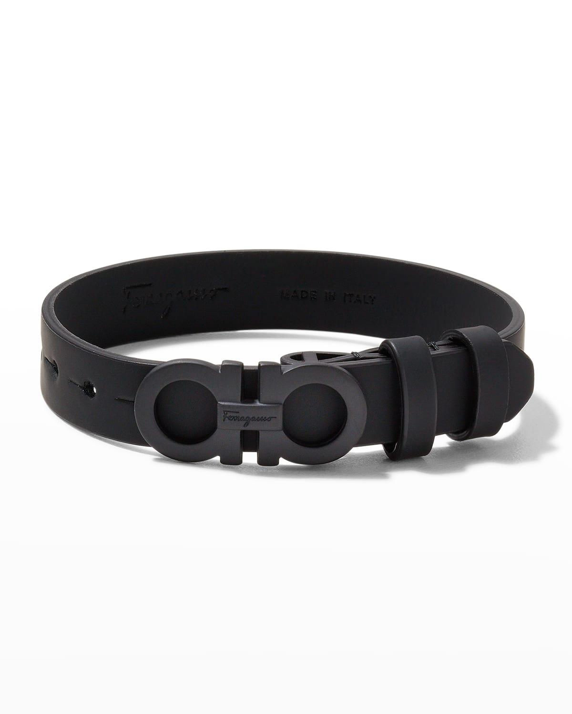 Men's Gancini Leather Bracelet