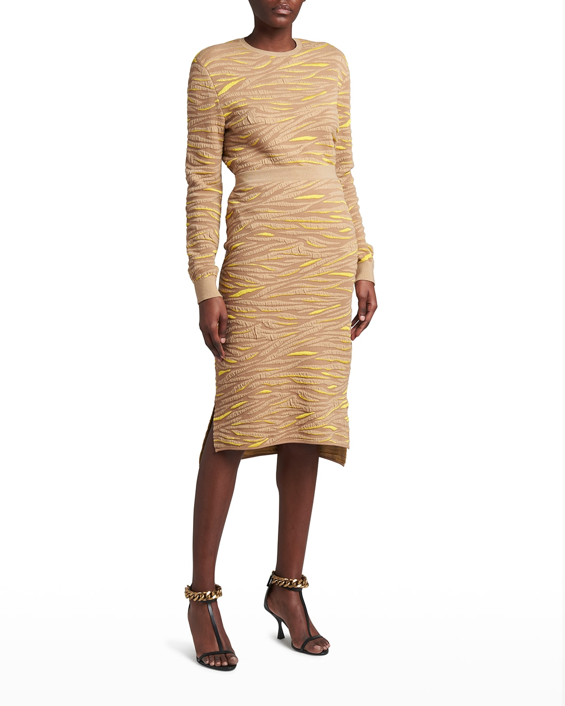 Animal-Pattern Wool Midi Skirt