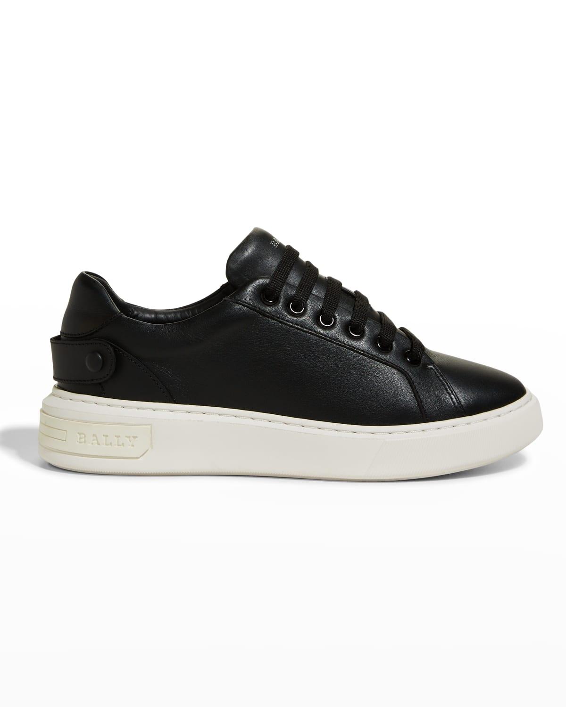 Mayla Calfskin Crystal-Strap Sneakers