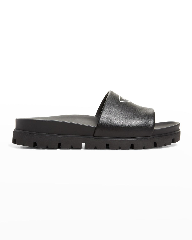 Men's Leather Logo Slide Sandals