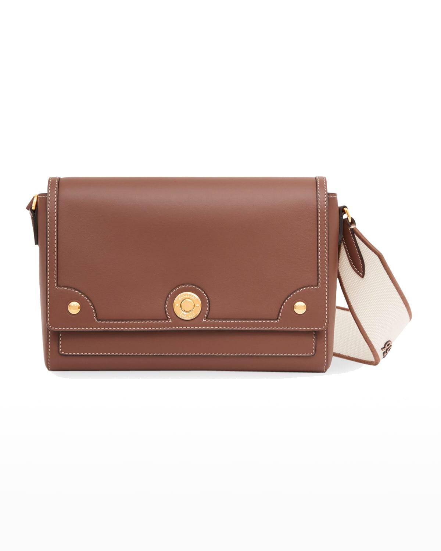 Note Italian Leather Shoulder Bag w/ Logo Canvas Strap
