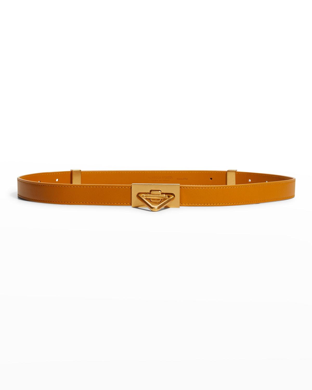 Triangle Turn-Lock Leather Buckle Belt