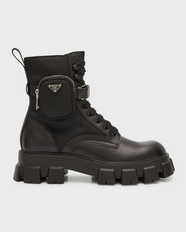 Men's Re-Nylon & Leather Zip Pocket Combat Boots