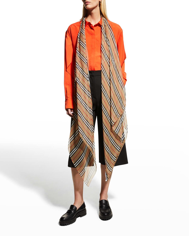 Icon Stripe Silk Chiffon Scarf
