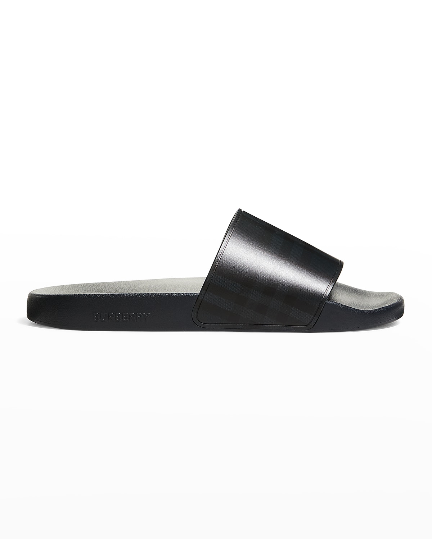 Men's Tonal Check-Print Pool Slide Sandals