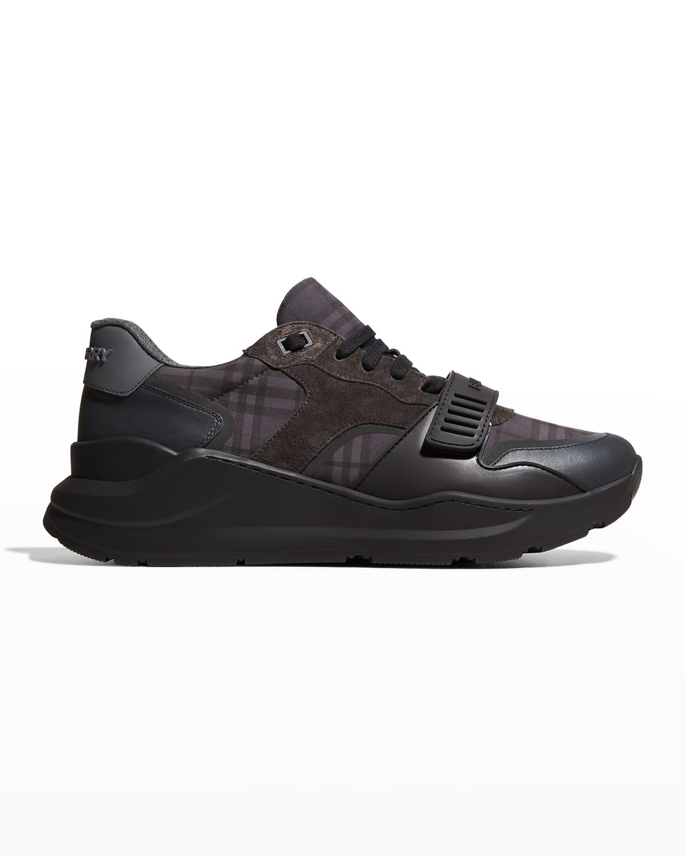 Men's Check Mix-Media Low-Top Sneakers