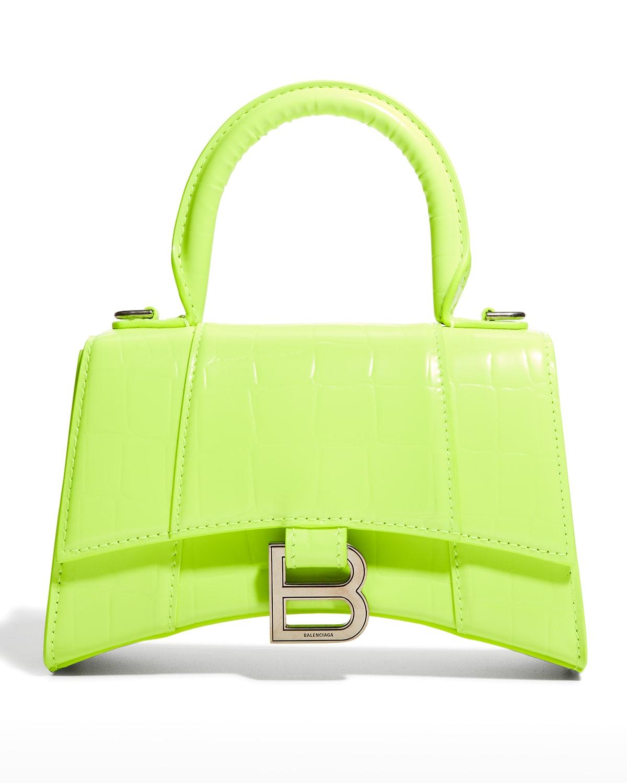 Hourglass XS Croc-Embossed Top-Handle Bag