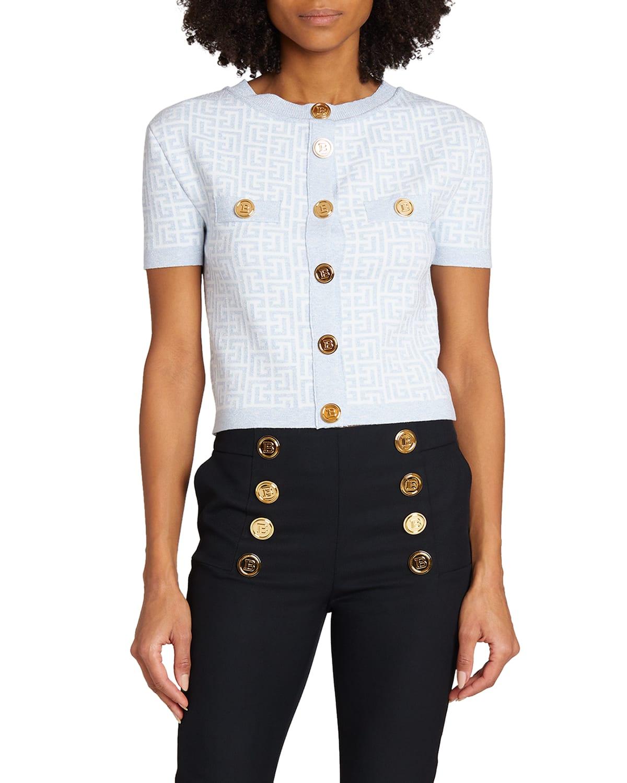 Monogram Glitter Short-Sleeve Cardigan