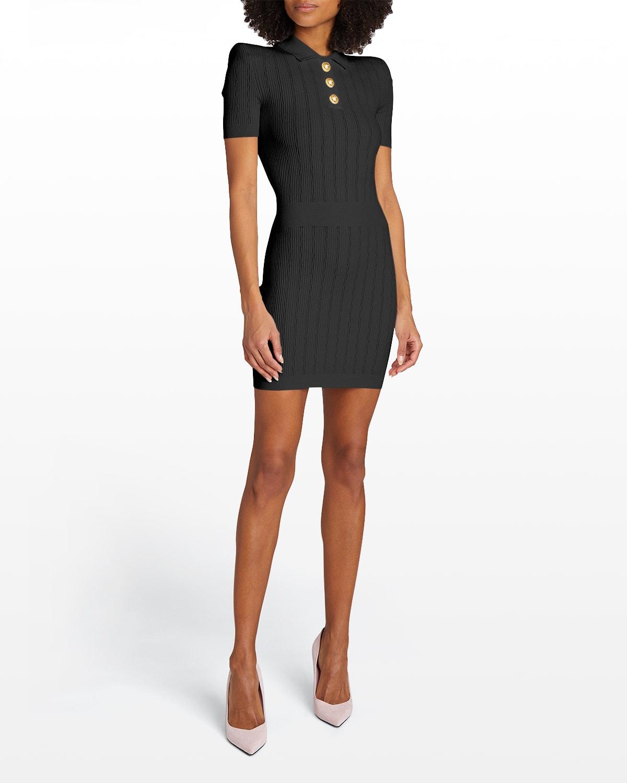 Strong-Shoulder Polo Mini Dress