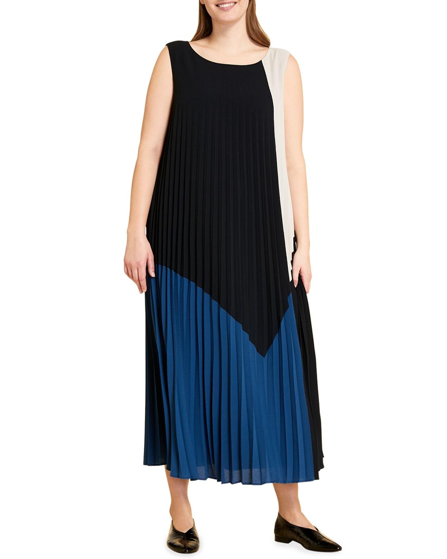 Plus Size Designer Bicolor Pleated Dress