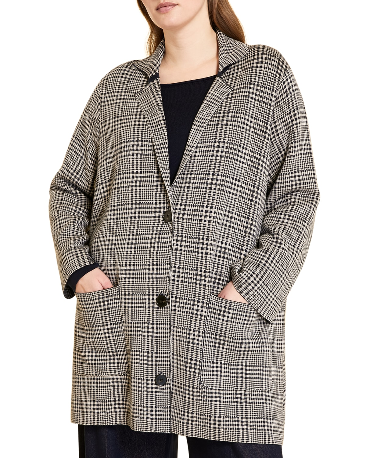 Plus Size Madre Check Wool-Blend Coat
