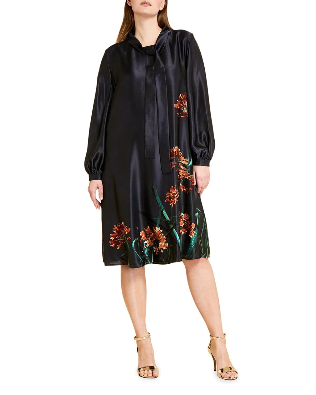 Plus Size Daniela Floral-Print Satin Dress