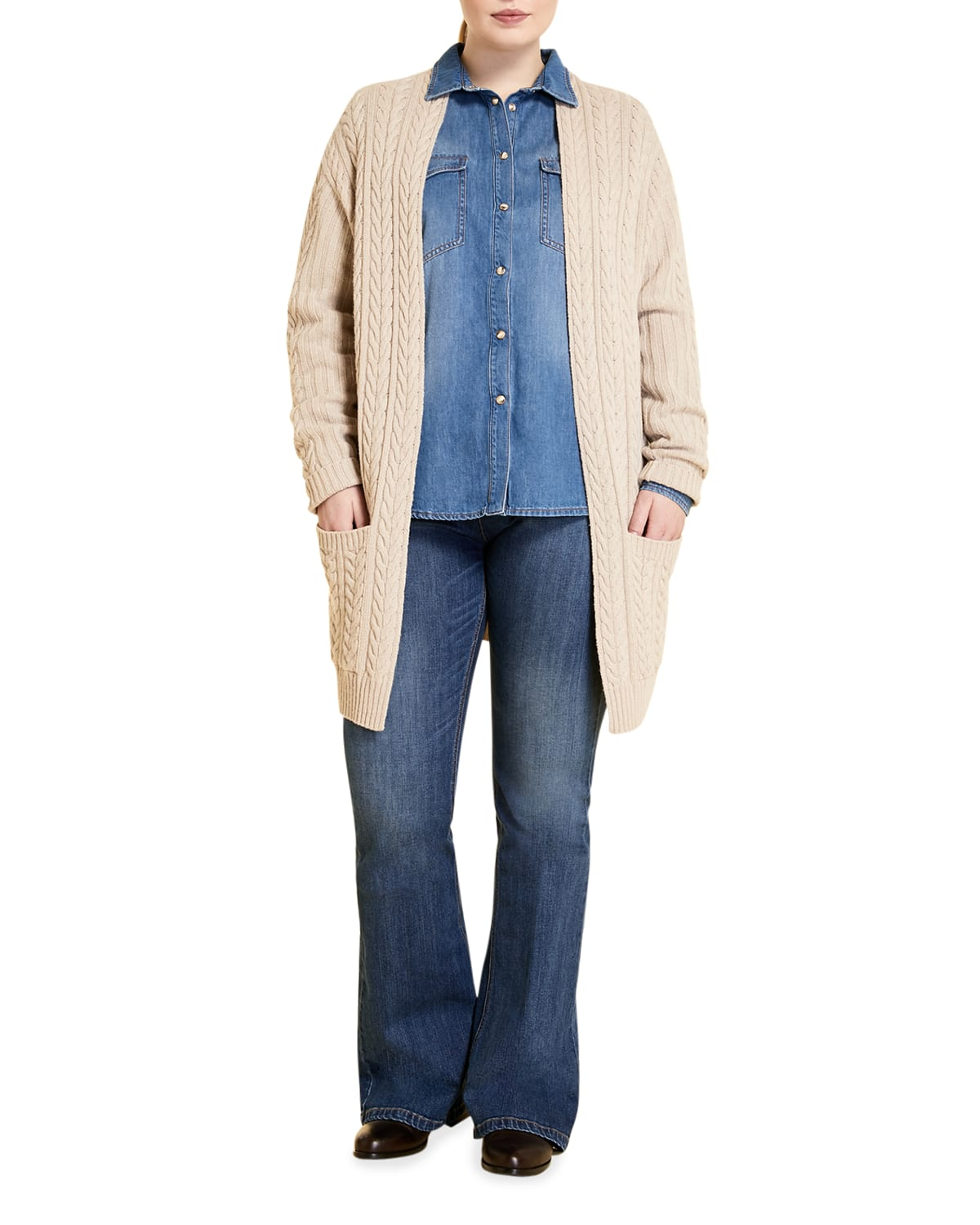Plus Size Mabel Cable-Knit Cardigan