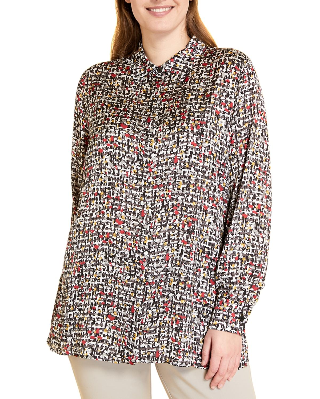Plus Size Bandiera Printed Satin Shirt