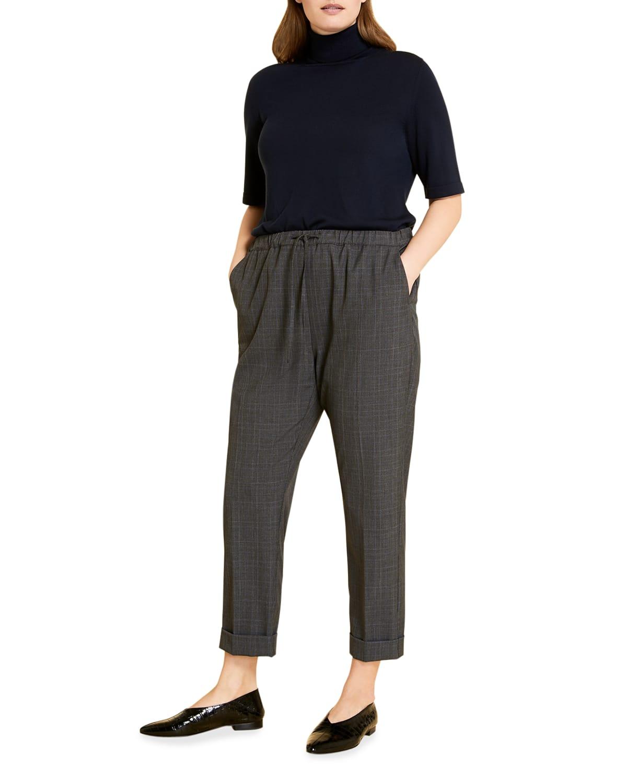 Plus Size Raccolta Drawstring Ankle Pants