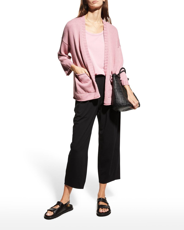Organic Linen-Cotton 3/4-Sleeve Cardigan
