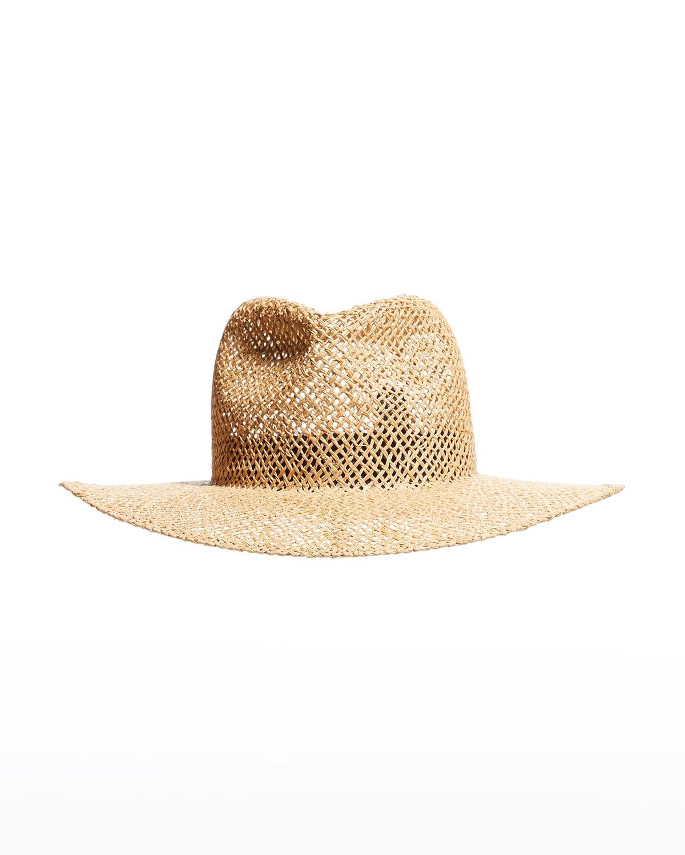Davie Woven Cutout Raffia/Straw Fedora Hat