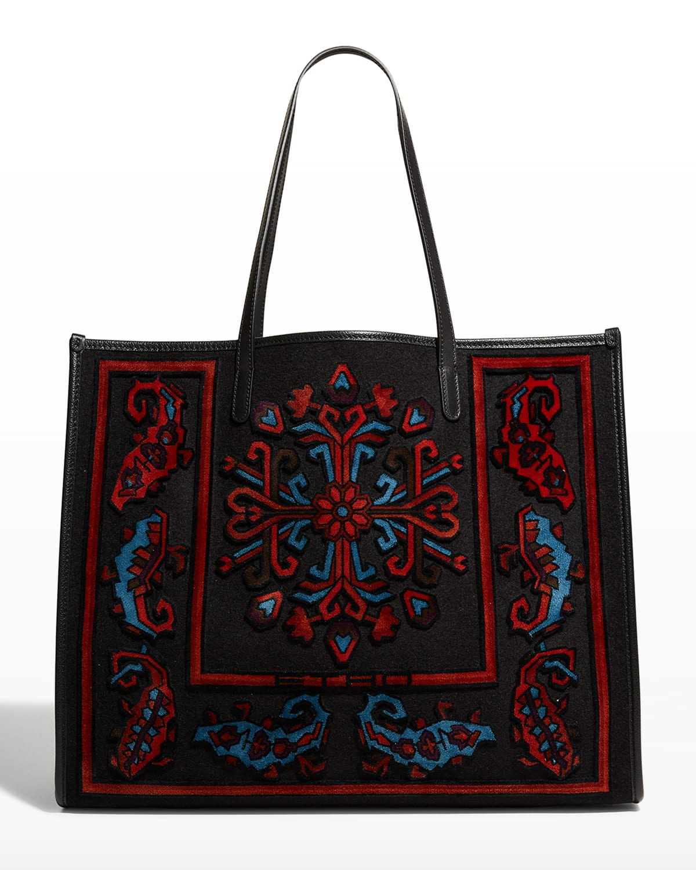 tter Embroidered Shopper Tote Bag