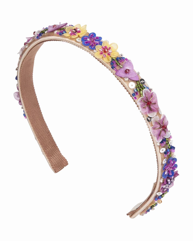 Reagan Floral Beaded Silk Headband