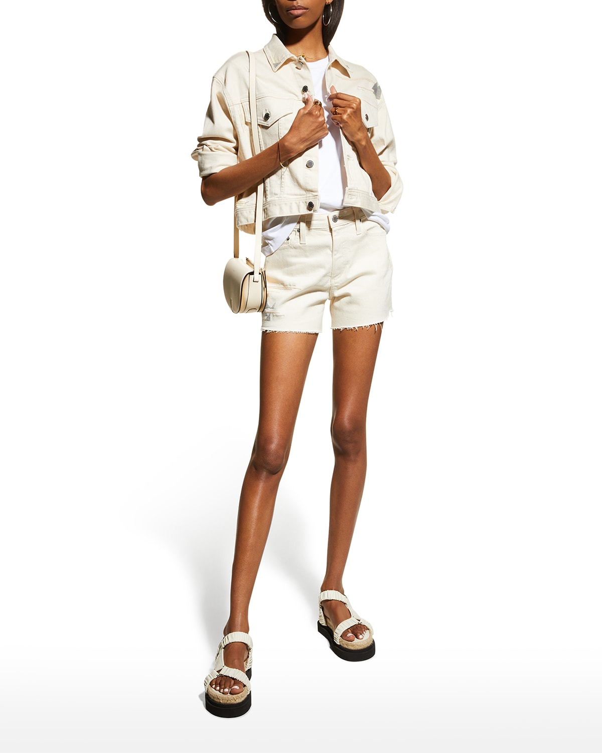 Alexxis Raw-Edge Shorts with Embroidery