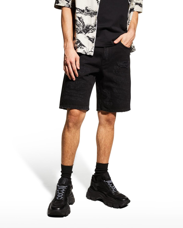 Men's Distressed Denim Shorts