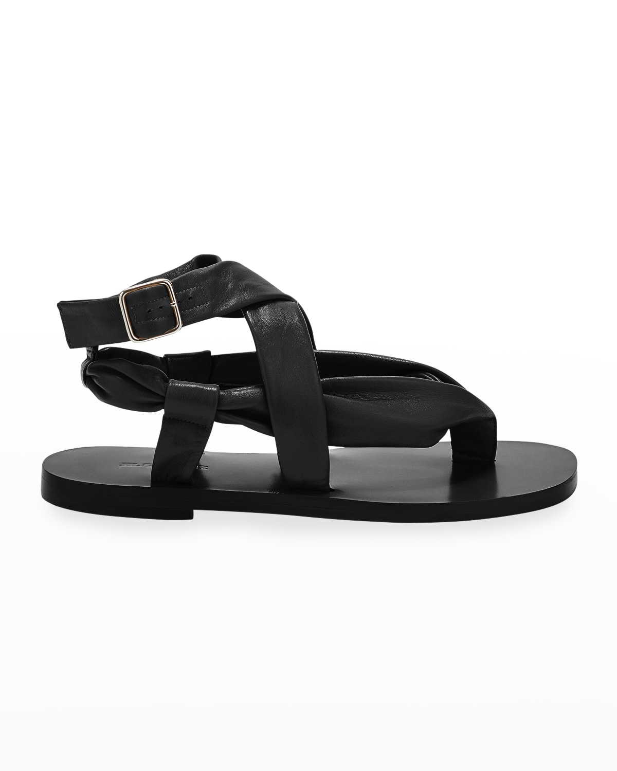 Nikky Lambskin Flat Ankle-Strap Sandals