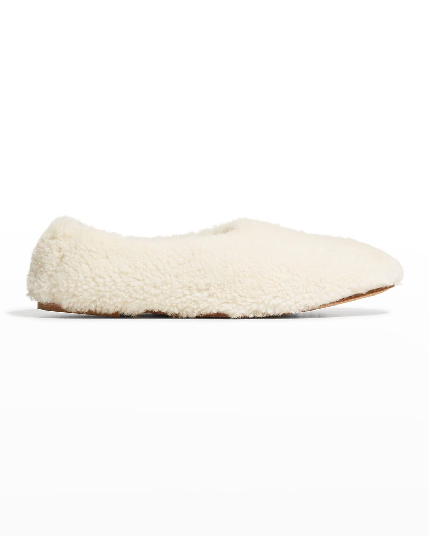 High Throat Shearling Fur Ballet Flats