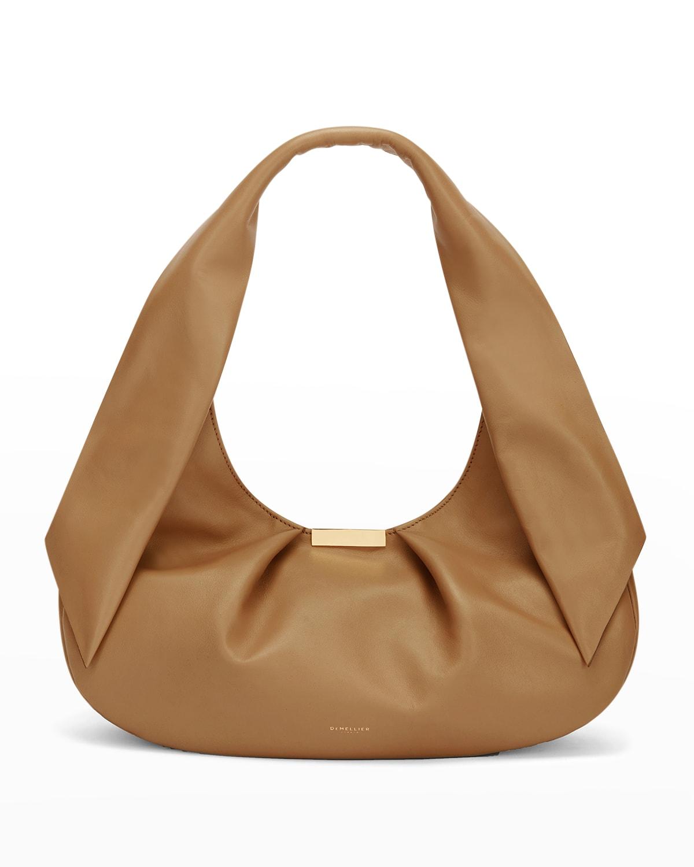 Milan Ruched Leather Shoulder Bag