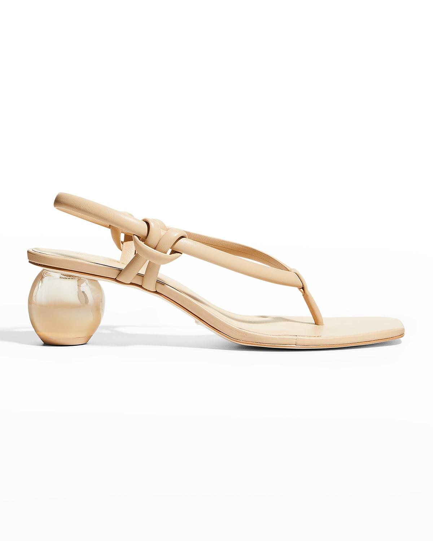 Aviva Leather Thong Slingback Sandals